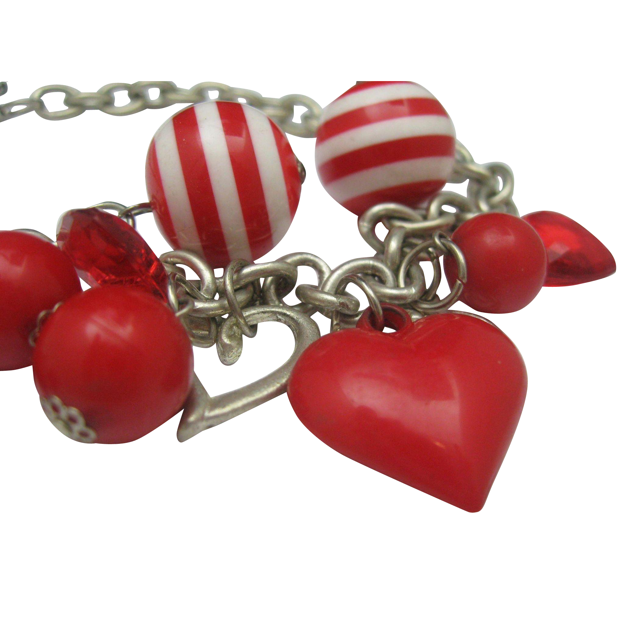 Red Plastic Heart necklace 1970