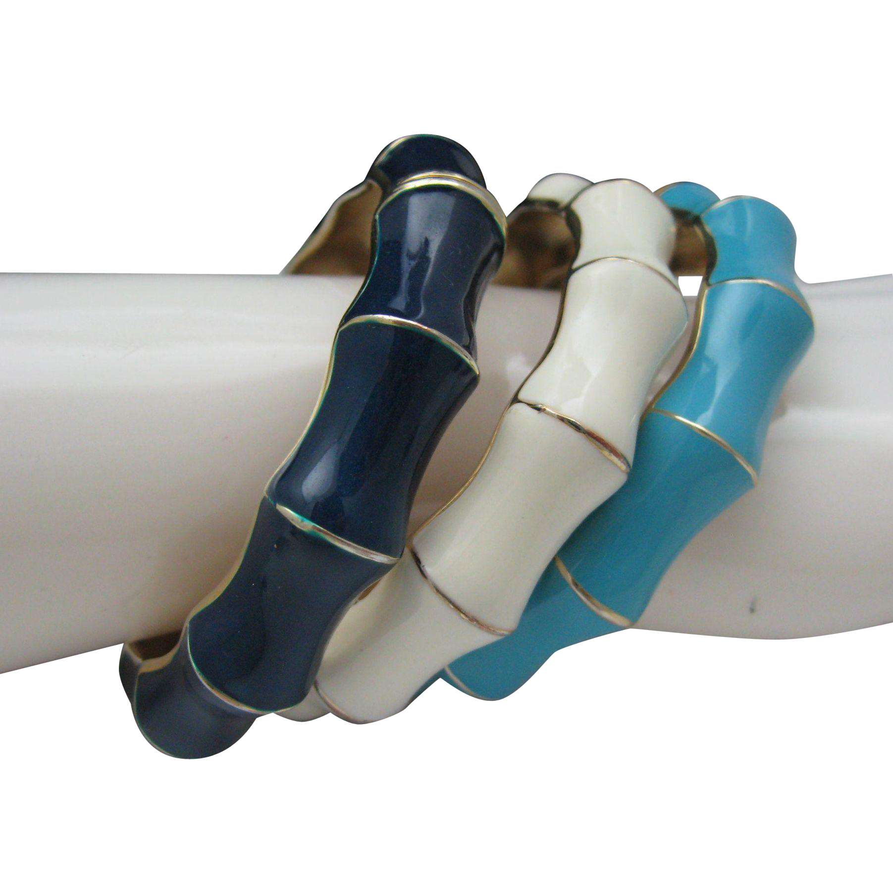 Set of 3 faux Bamboo Stacking Bracelets Hinged