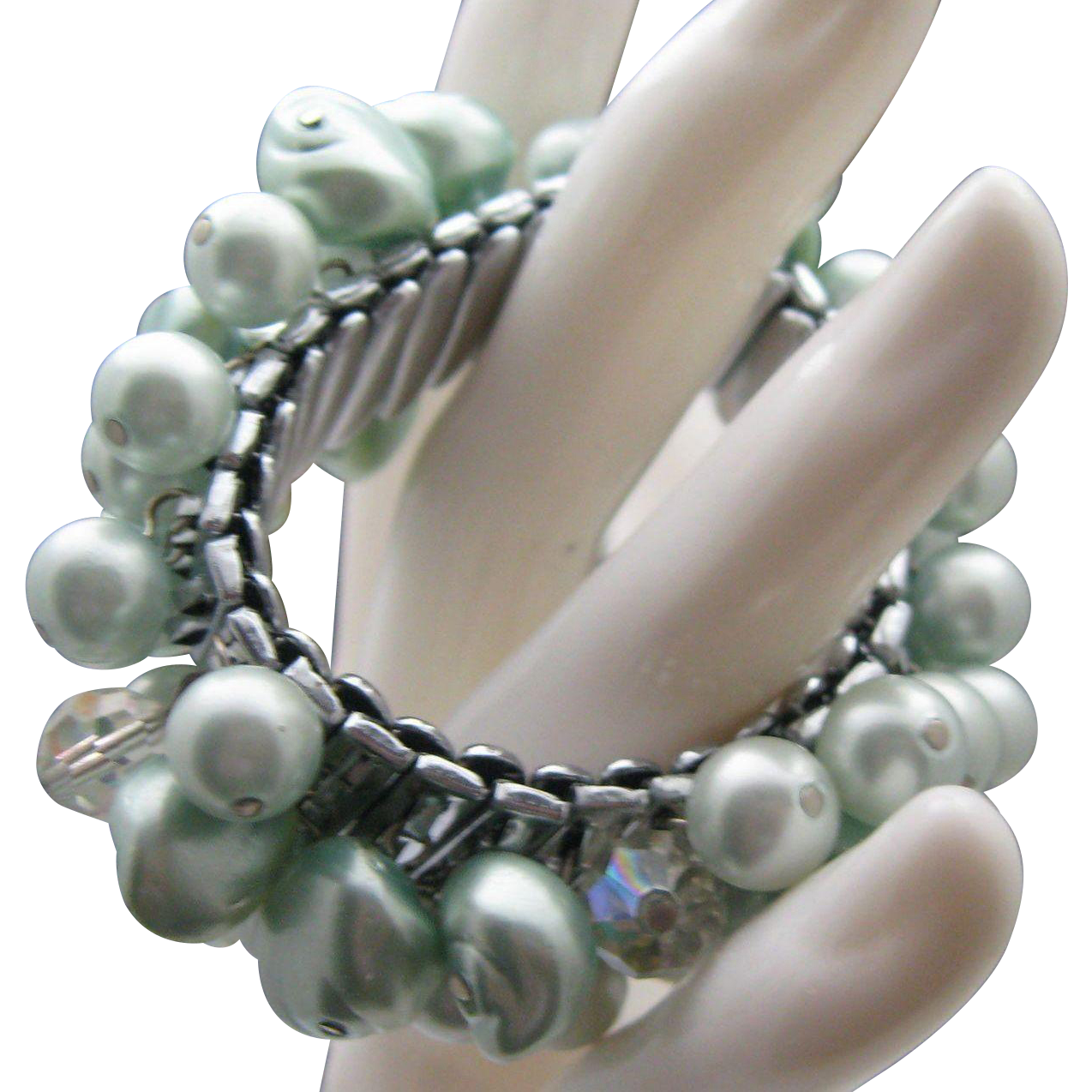 Frosted Blue Pearls Cha Cha Bracelet
