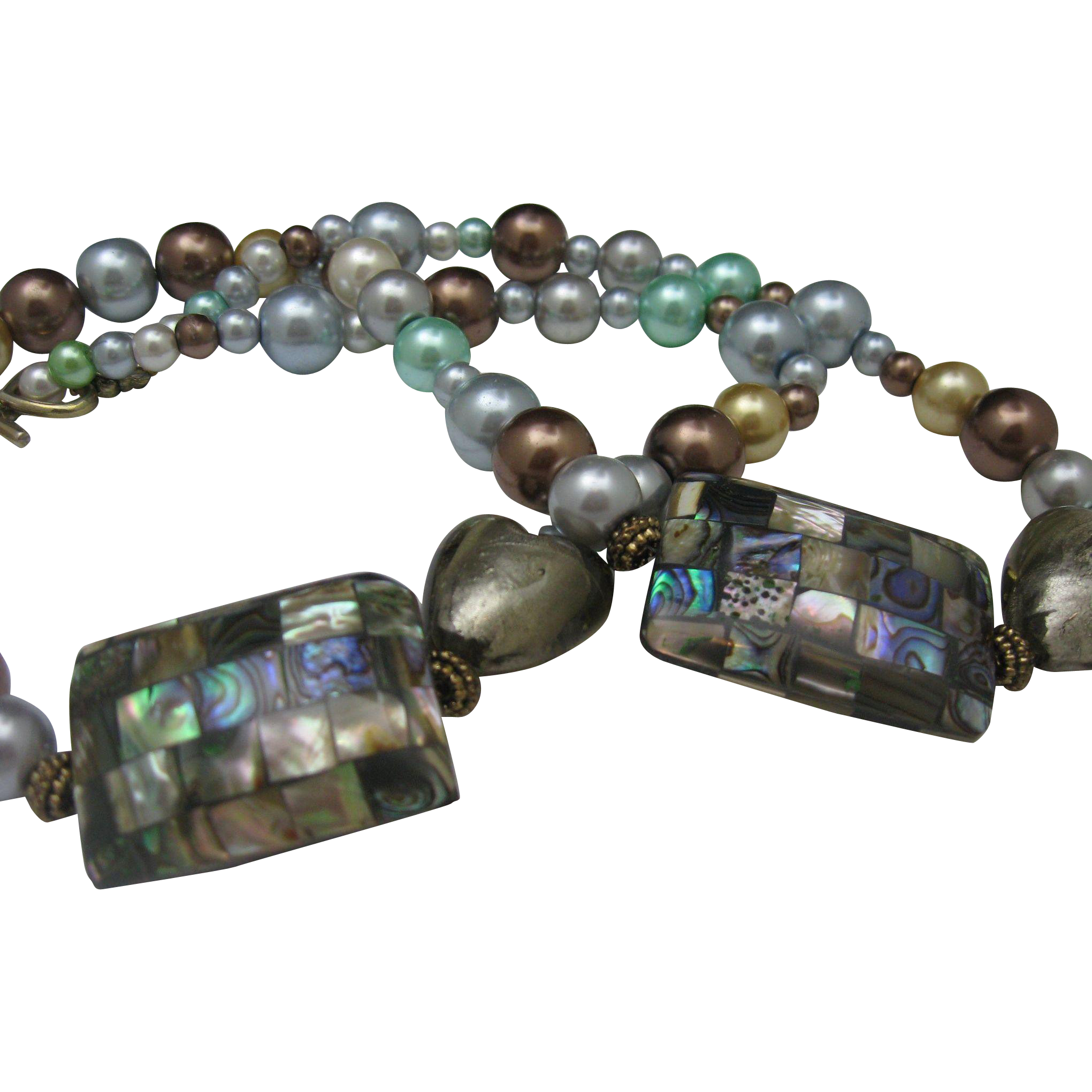 Abalone and Pearl Heart Necklace