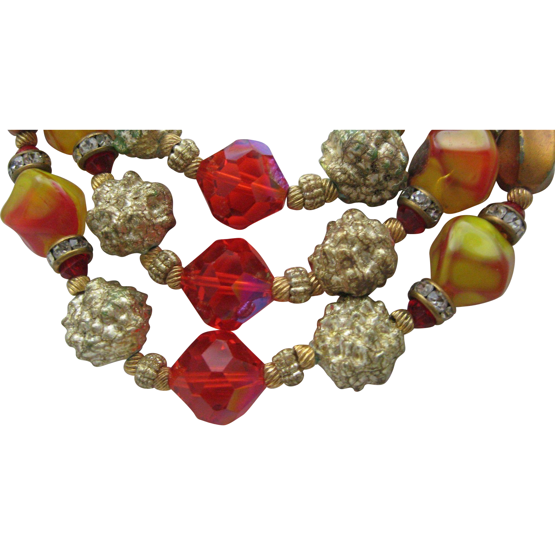 1950 Crystal Art Glass Choker Necklace
