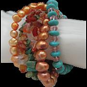 Six Strands Turquoise Pearls Bracelet