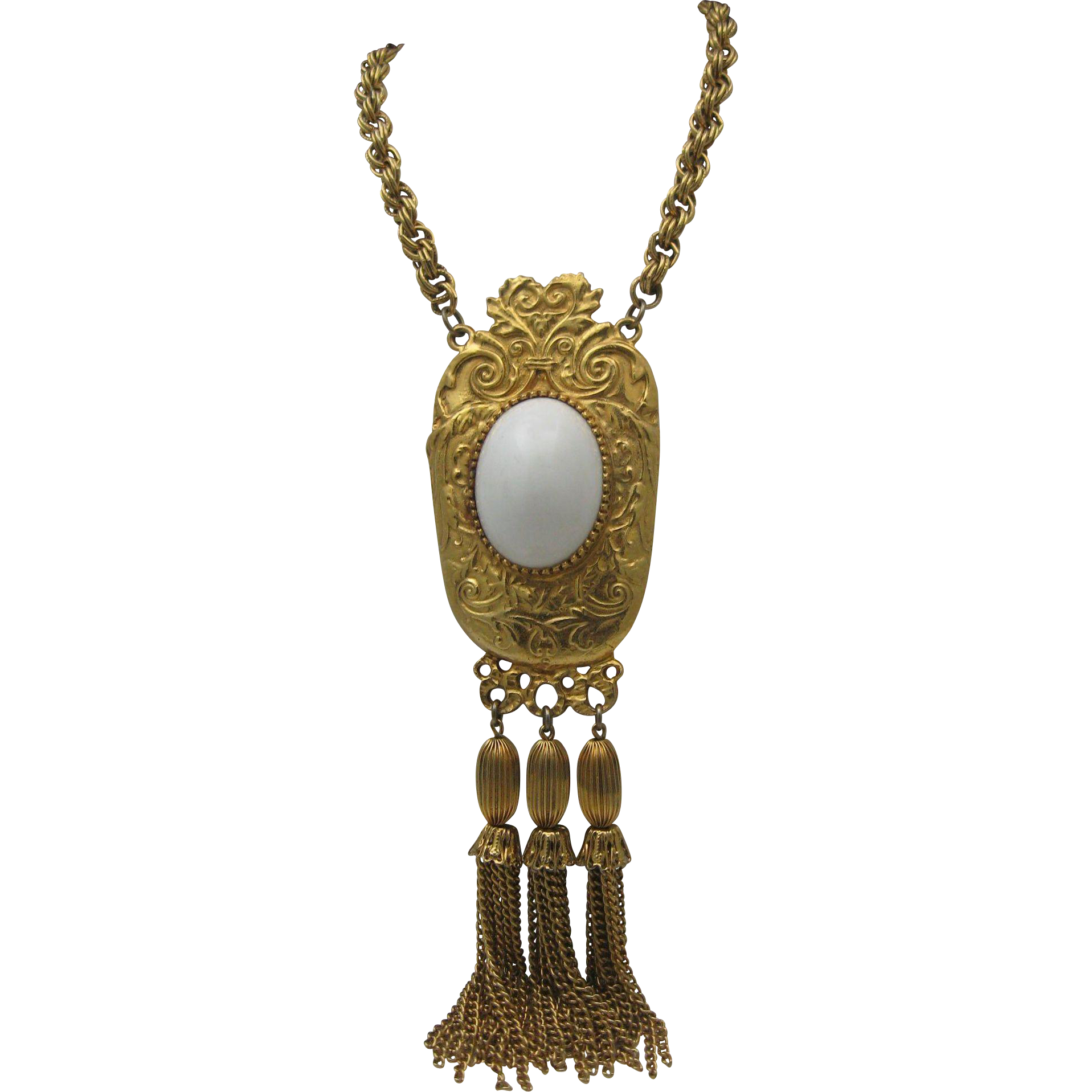 Etruscan Revival Style Gold toned White Tassel Necklace