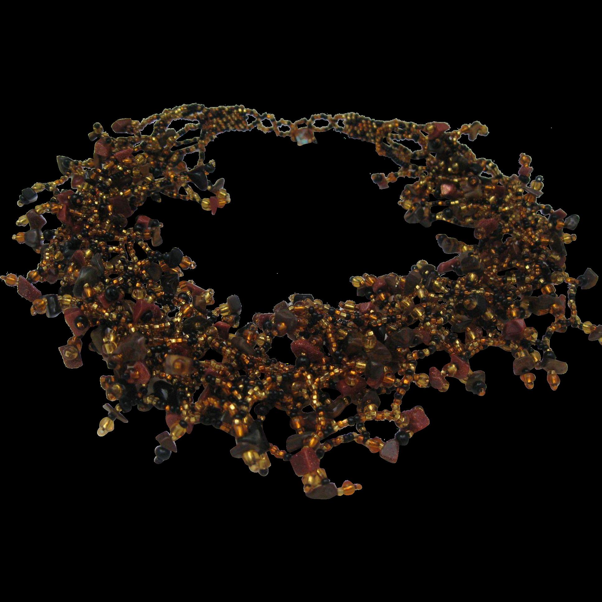 Copper Glass Web Necklace