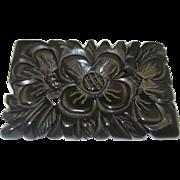 Large Black Bakelite Brooch