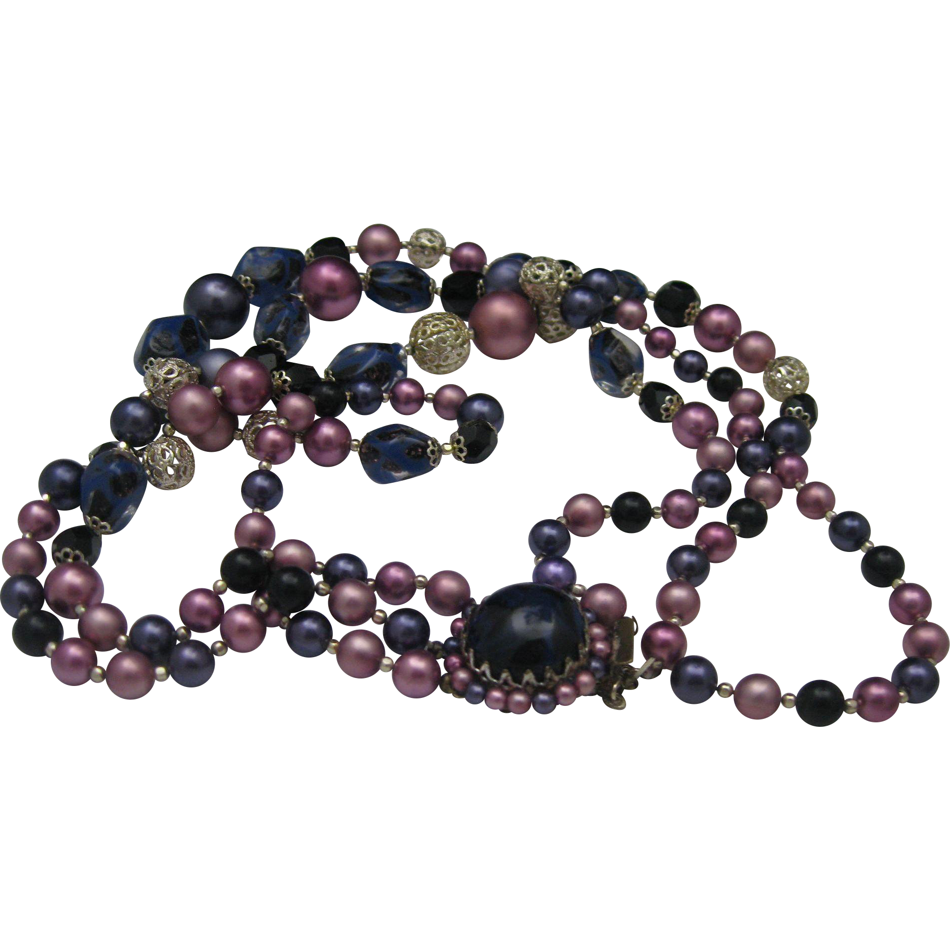 Purple Glass Three Strand Necklace 1950