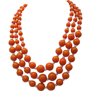 1970 Orange White 3 Strand Necklace