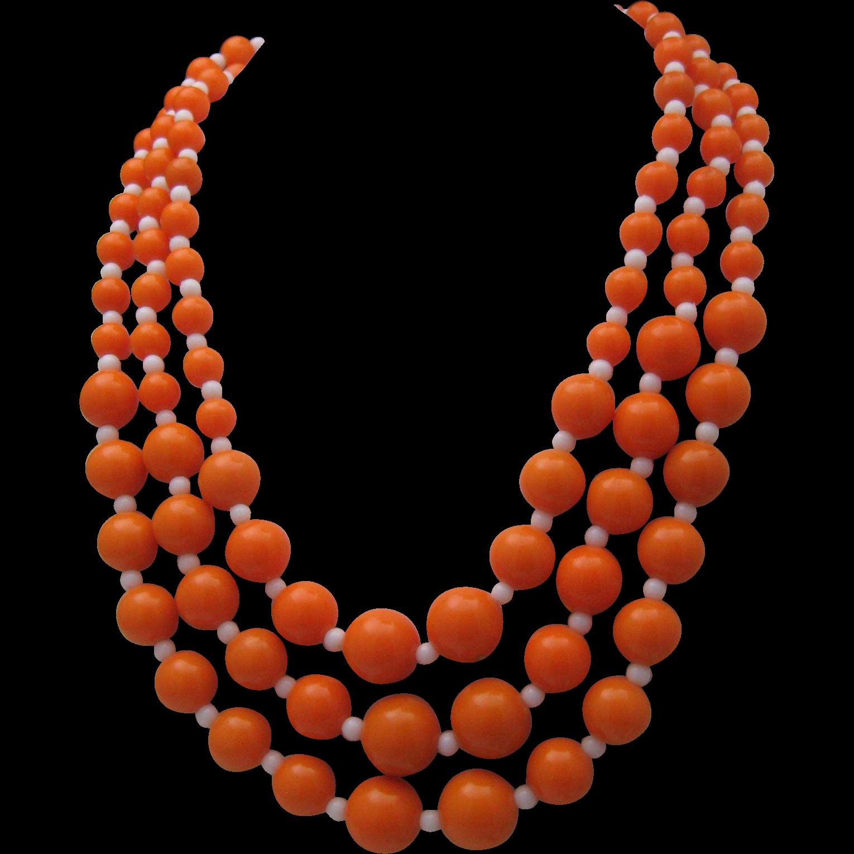 1970 Orange White 3 Strand Necklace