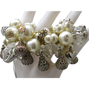 Pearl Puffy Heart Stretch Bracelet