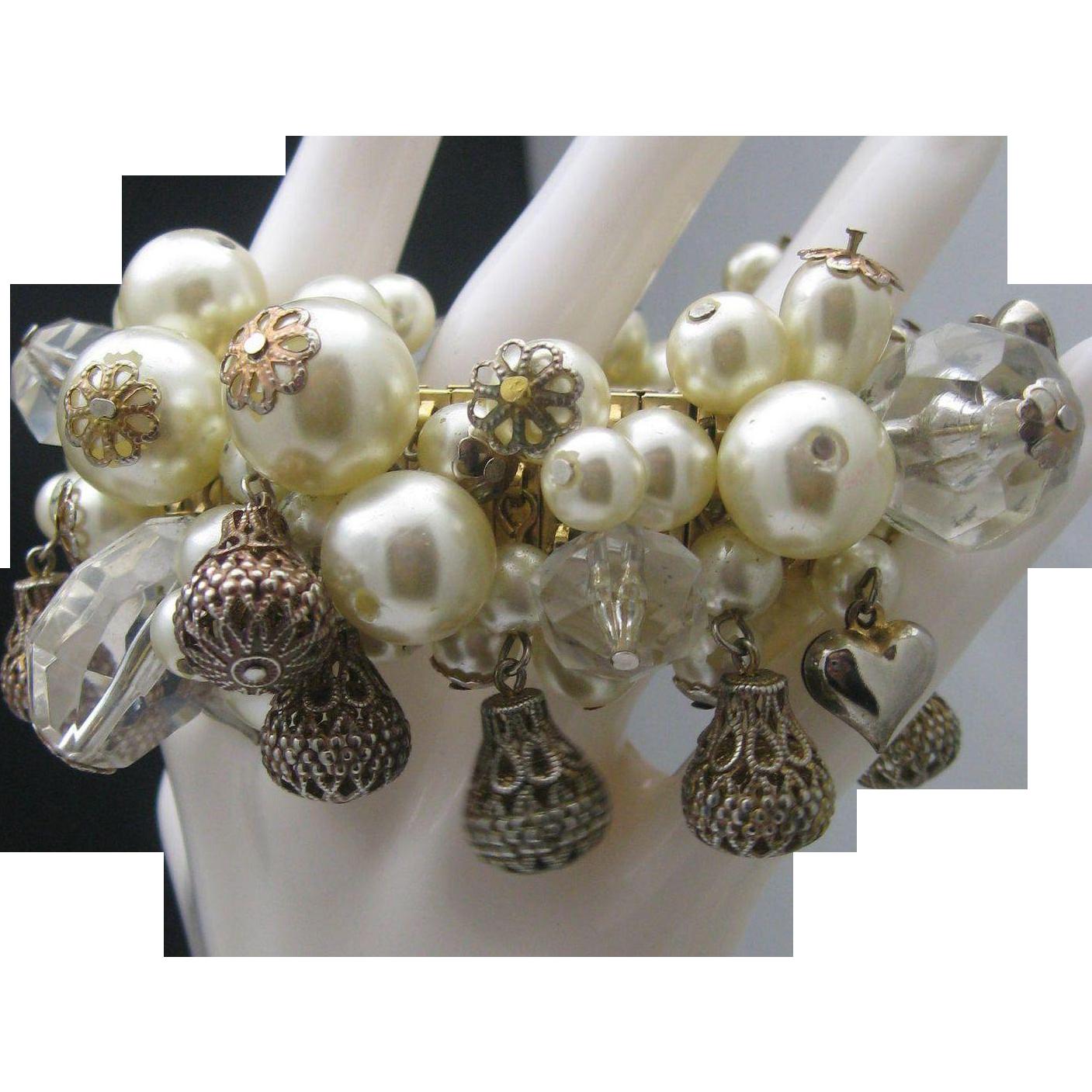 Pearl Puffy Heart Stretch Bracelet