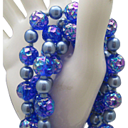 Gatsby Style Blue Glass Necklace c1960