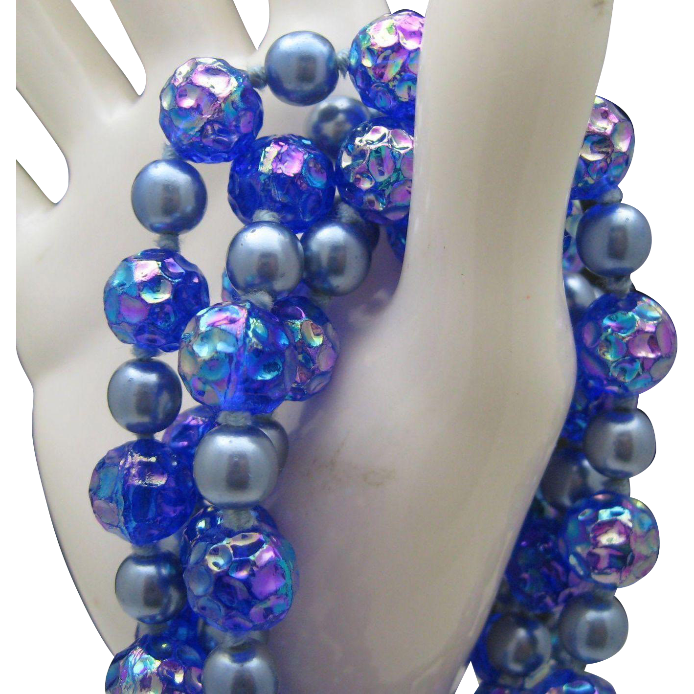 Gatsby Style Blue Glass Necklace c1960