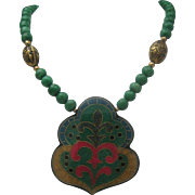 Buddhist Style Resin Necklace c1980