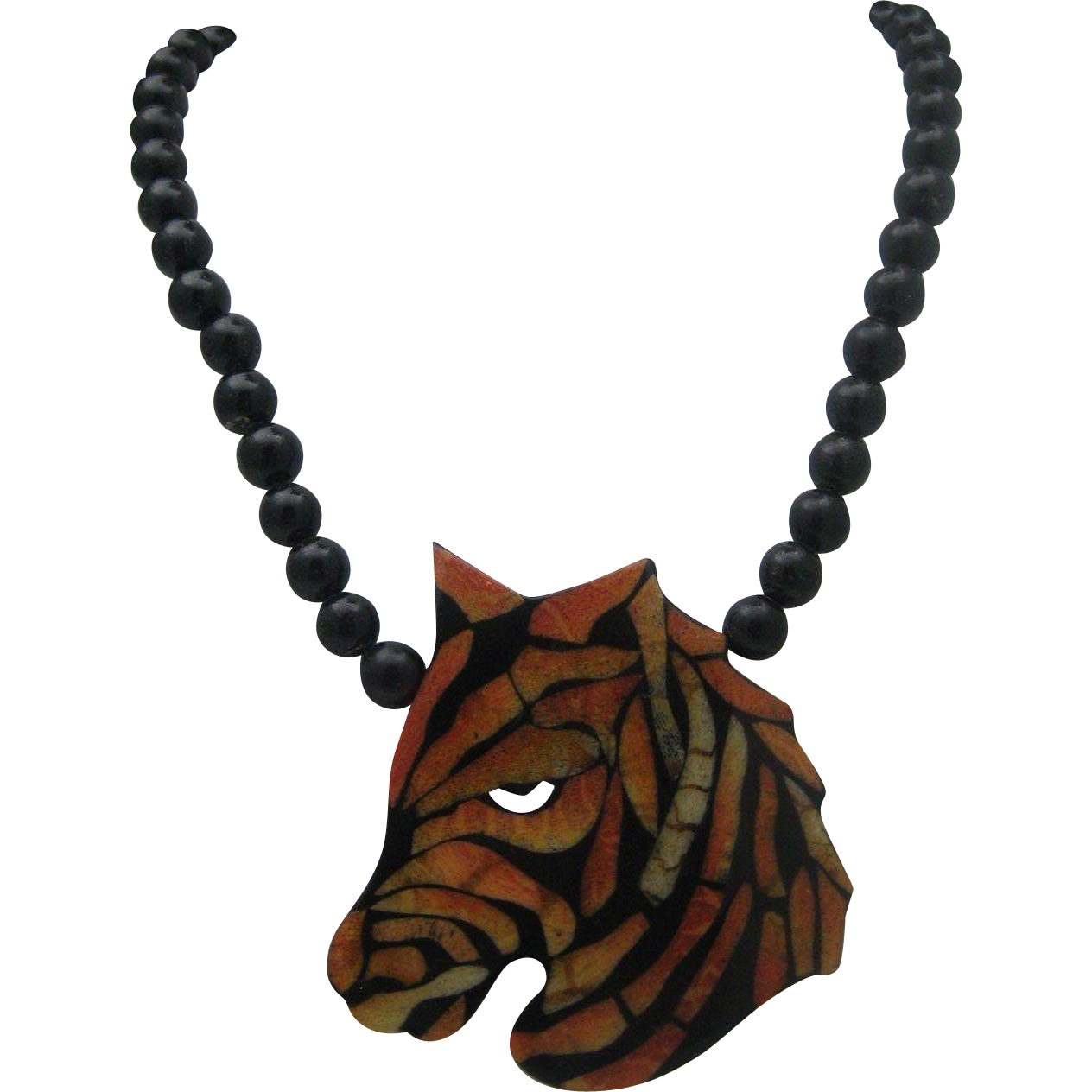 Zebra Resin Necklace 36 inches