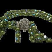 Rhinestone Green Glass bead necklace c1960