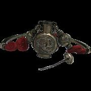 Asian Silver Snuff Bottle Necklace Cinnabar