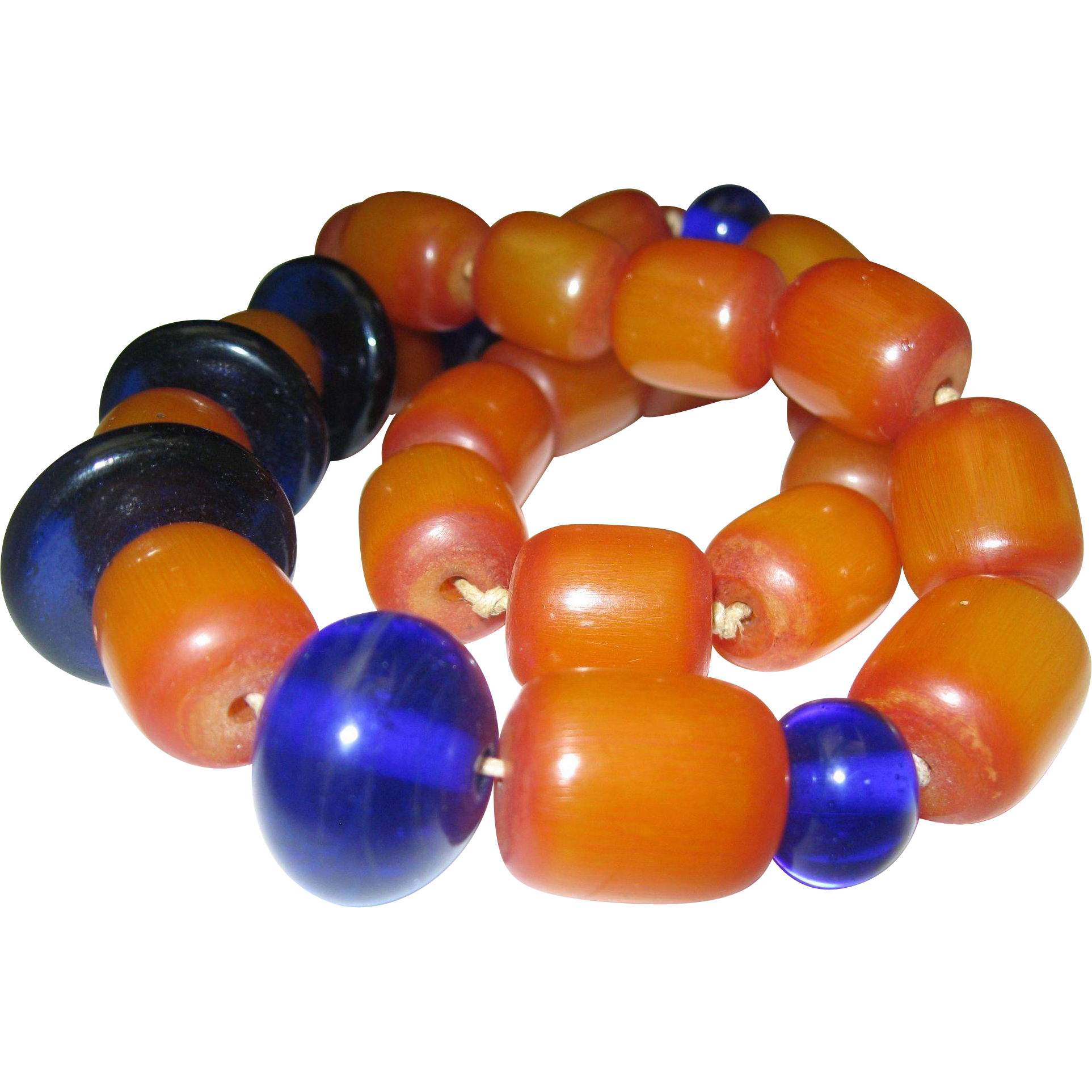 Amber Cobalt Bead Necklace