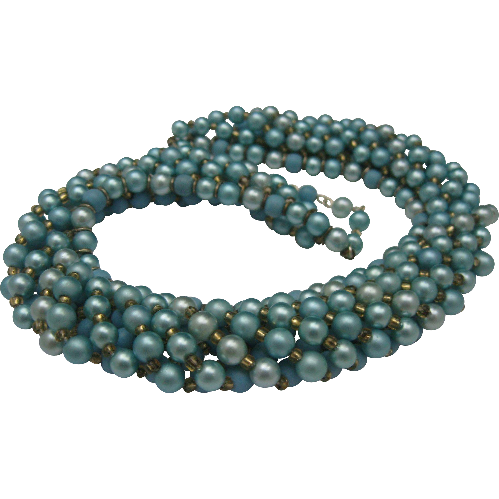 Frosted Blue Faux Pearl Collar Necklace