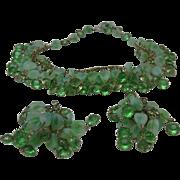 Peridot Rhinestone Necklace Set 1960