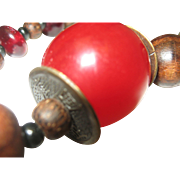 Cherry Resin Asian Necklace c1960 Unisex