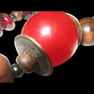 Cherry Resin Asian Necklace c1960 Unisex