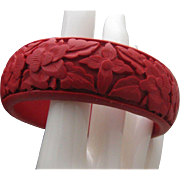 Vermillion Cinnabar Bangle Bracelet