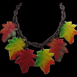 C 1940 Celluloid Autumn Leaves necklace