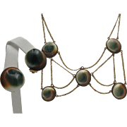 Victorian Operculum Necklace Earrings Set