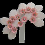 Pink Plastic Rhinestone earrings c1950