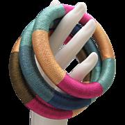 Thai Silk Wrapped Bangle Bracelets 3