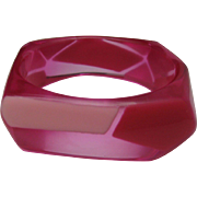 Lucite Op Art Pink Bracelet