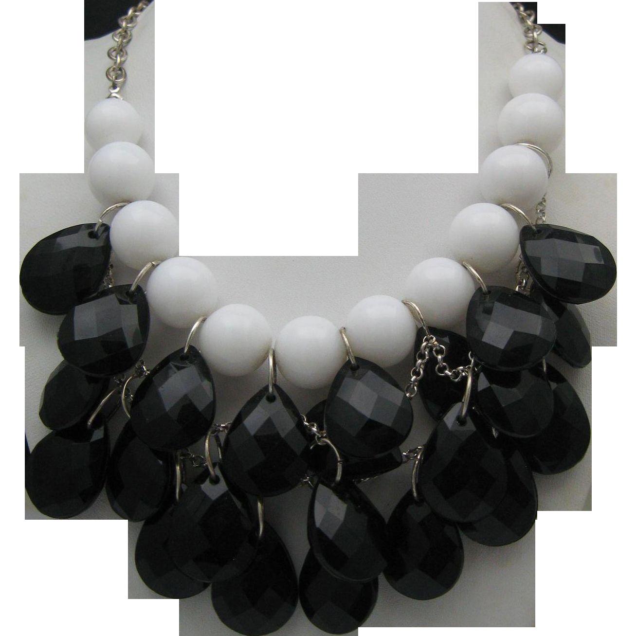 Black Diamond Cascading Necklace  c1980