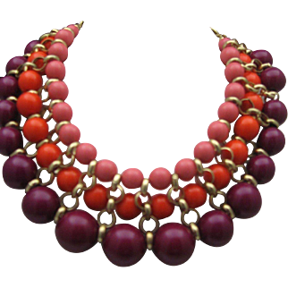 Plum Three Strand Necklace c1980