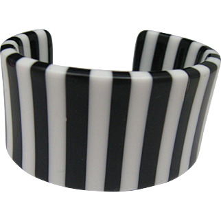 Black White Celluloid Cuff Bracelet