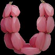 Glamorous Rose Navette Bead Necklace c1980