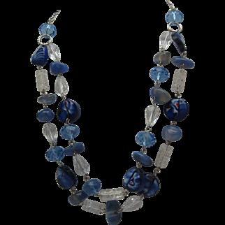 Cobalt Art Glass Crystal Necklace c1980