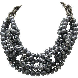 Silver Crystal Looped Necklace c1980