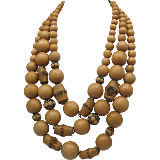 Rattan Bamboo Necklace c1948