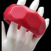 Red Celluloid Cuff Bracelet 1960