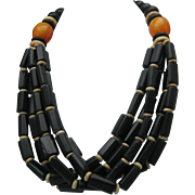 Amber Bone Tribal Necklace
