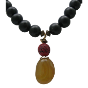 Chinese Amber Cinnabar Necklace