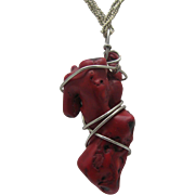 Caged Genuine Coral Branch Pendant