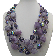 1950 Banded  Amethyst Crystal Necklace
