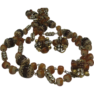 Amber Glass C1950 Necklace earrings