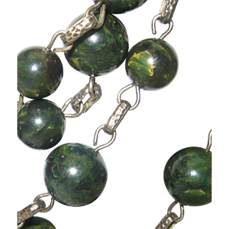 Mid Century 4 Stands Green Necklace