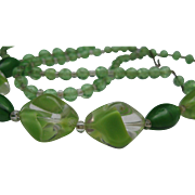 Green Glass Mid Century Necklace