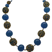Teal Glass Necklace c1930