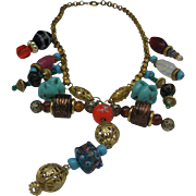 Beaded Charm Necklace c 1960