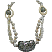 MOP and Marble  Three Strand Necklace