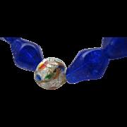 Cobalt Blue Foiled Glass Necklace c1950